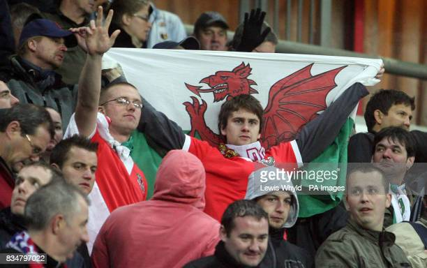 Wales fans during the World Cup Qualifying match at the Lokomotiv Stadium Moscow Russia