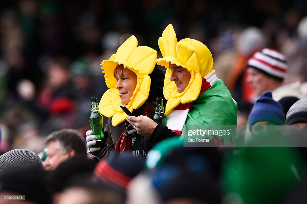 Wales fans enjoy the pre match atmosphere during the RBS Six Nations match between Ireland and Wales at the Aviva Stadium on February 7, 2016 in Dublin, Ireland.