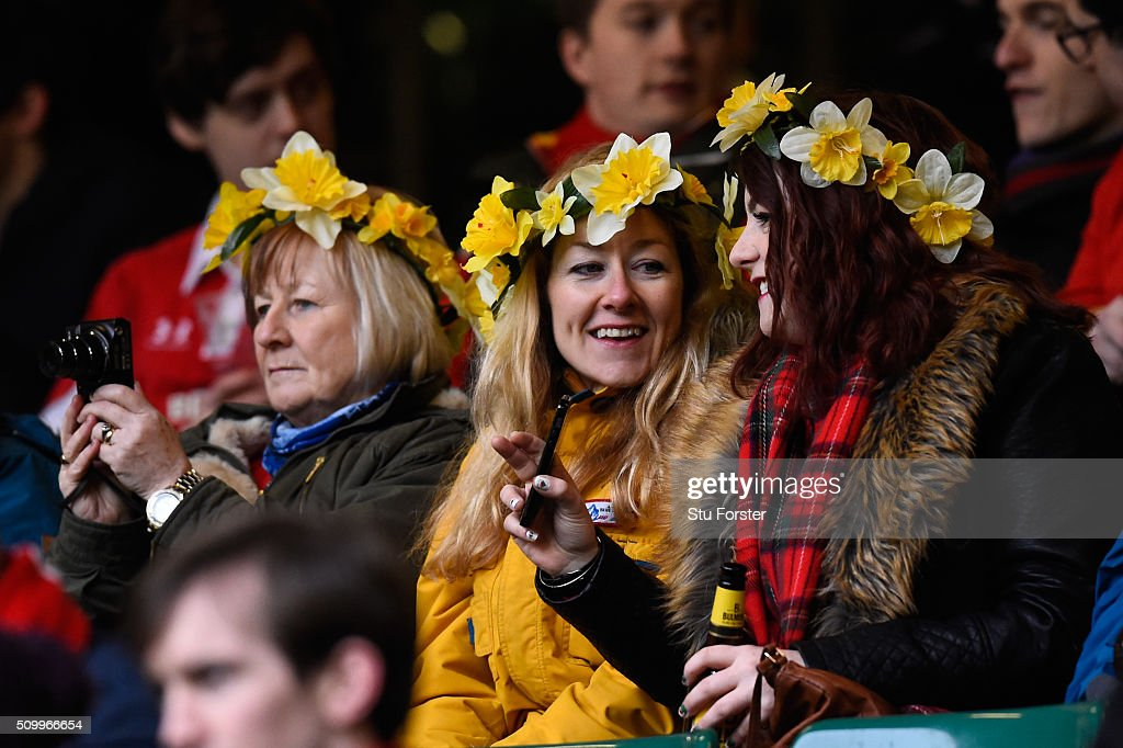 Wales fans enjoy the pre match atmosphere during the RBS Six Nations match between Wales and Scotland at the Principality Stadium on February 13, 2016 in Cardiff, Wales.