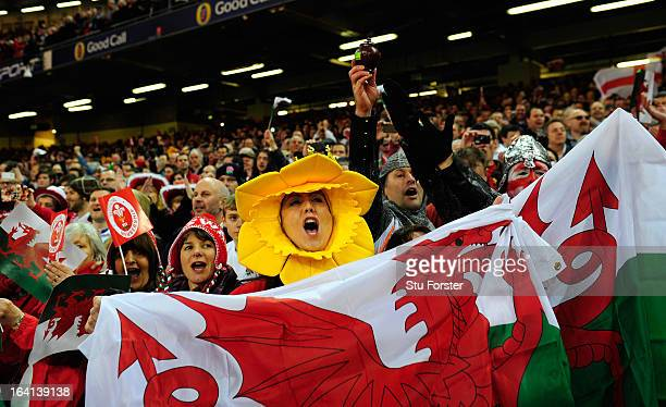 Wales fans enjoy themselves before the RBS Six Nations match between Wales and England at the Millennium Stadium in Cardiff Wales