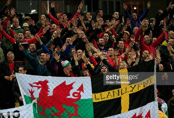 Wales fans give support to their team during he Euro 2016 qualifying football match between Bosnia and Herzegovina and Wales at the Stadium Bilino...