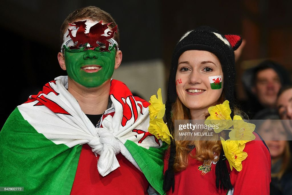 Wales fans pose during the third rugby Test match between the New Zealand All Blacks and Wales at Forsyth Barr Stadium in Dunedin on June 25, 2016. / AFP / Marty Melville