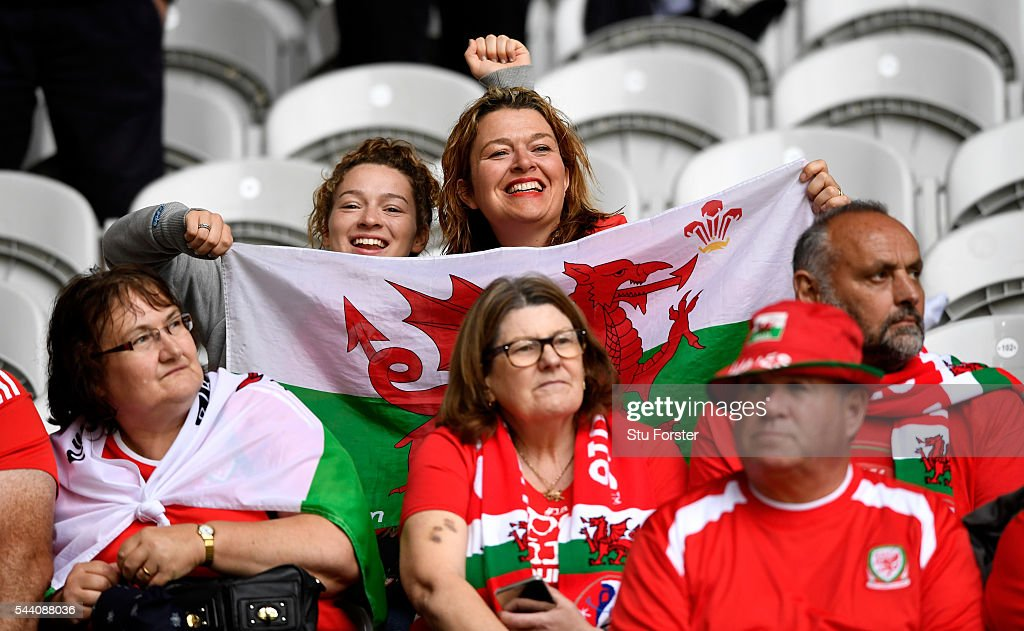 Wales fans show their support prior to the UEFA EURO 2016 quarter final match between Wales and Belgium at Stade Pierre-Mauroy on July 1, 2016 in Lille, France.