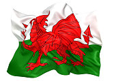 3D illustration of Wales flag