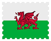 Wales Flag Postage Stamp, 3d illustration on white background