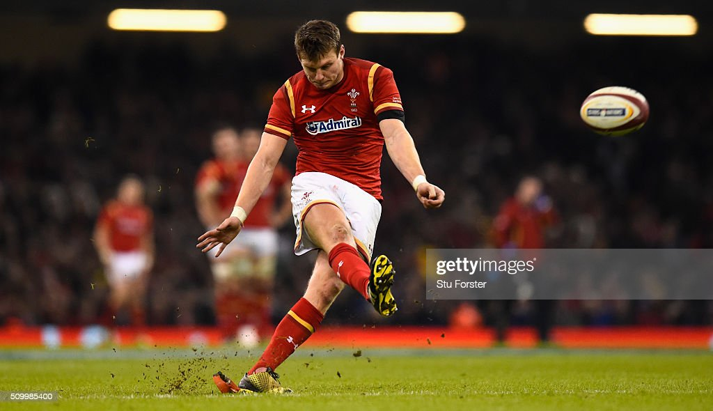 Wales fly half <a gi-track='captionPersonalityLinkClicked' href=/galleries/search?phrase=Dan+Biggar&family=editorial&specificpeople=5607224 ng-click='$event.stopPropagation()'>Dan Biggar</a> kicks at goal during the RBS Six Nations match between Wales and Scotland at Principality Stadium on February 13, 2016 in Cardiff, Wales.