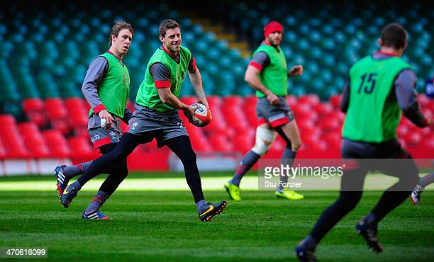 Wales fly half Rhys Priestland releases the ball during the Wales captains run ahead of tomorrow nights six nations game against France at Millennium...