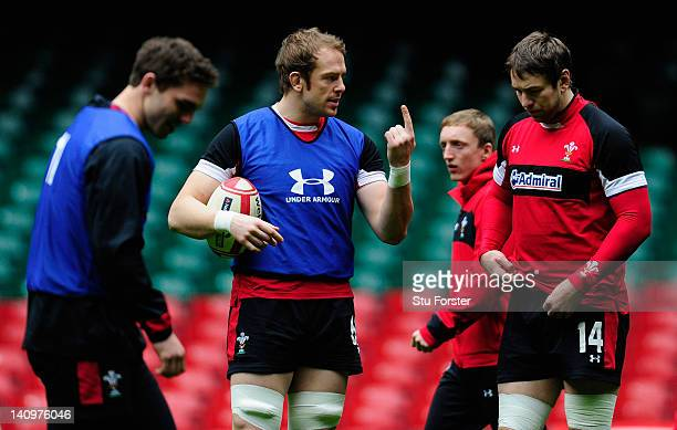 Wales forward Alun WynJones makes a point to Ryan Jones during the Wales Captain's Run ahead of tomorrows RBS six nations game against Italy at...