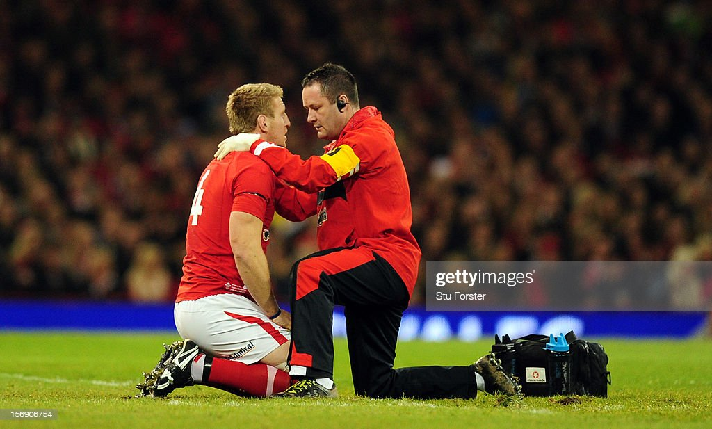 Wales forward Bradley Davies recieves treatment during the International Match between Wales and New Zealand at Millennium Stadium on November 24, 2012 in Cardiff, Wales.