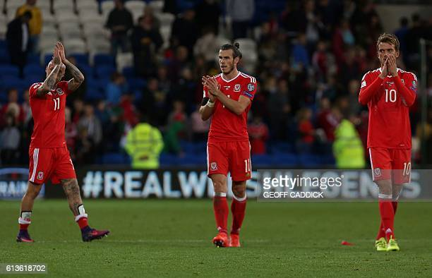Wales' forward Gareth Bale applauds the fans following the World Cup 2018 football qualification match between Wales and Georgia at Cardiff City...