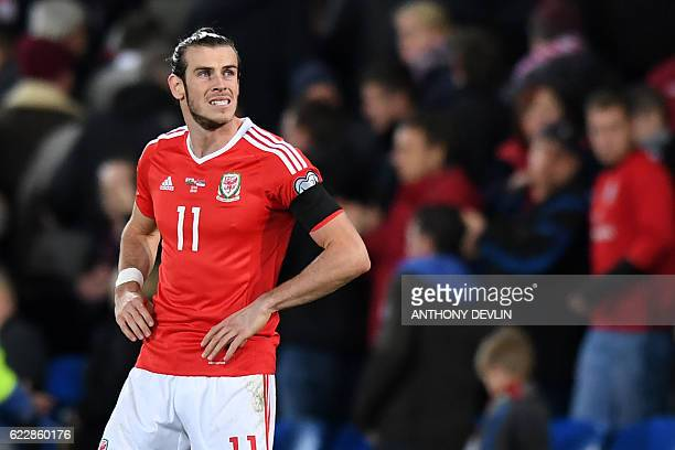 Wales' forward Gareth Bale reacts at the final whistle in the World Cup 2018 qualification match between Wales and Serbia at Cardiff City stadium in...