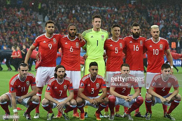 Wales' forward Gareth Bale Wales' midfielder Joe Allen Wales' defender Neil Taylor Wales' defender Chris Gunter and Wales' defender Ben Davies and...