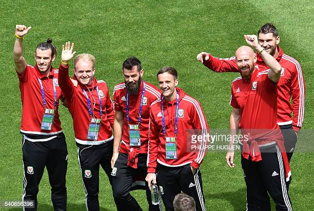 Wales' forward Gareth Bale Wales' midfielder Jonathan Williams Wales' midfielder Joe Ledley Wales' midfielder Andy King Wales' defender James Collins...