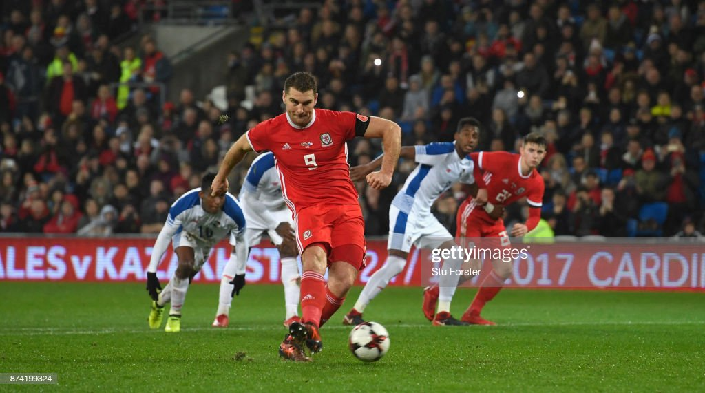 Wales forward Sam Vokes misses a first half penalty during the International Friendly match between Wales and Panama at Cardiff City Stadium on November 14, 2017 in Cardiff, Wales.