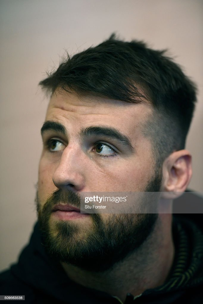 Wales forward Scott Baldwin faces the media during a Wales Press conference ahead of their RBS Six Nations match against Scotland, at The Vale Hotel on February 11, 2016 in Cardiff, Wales.