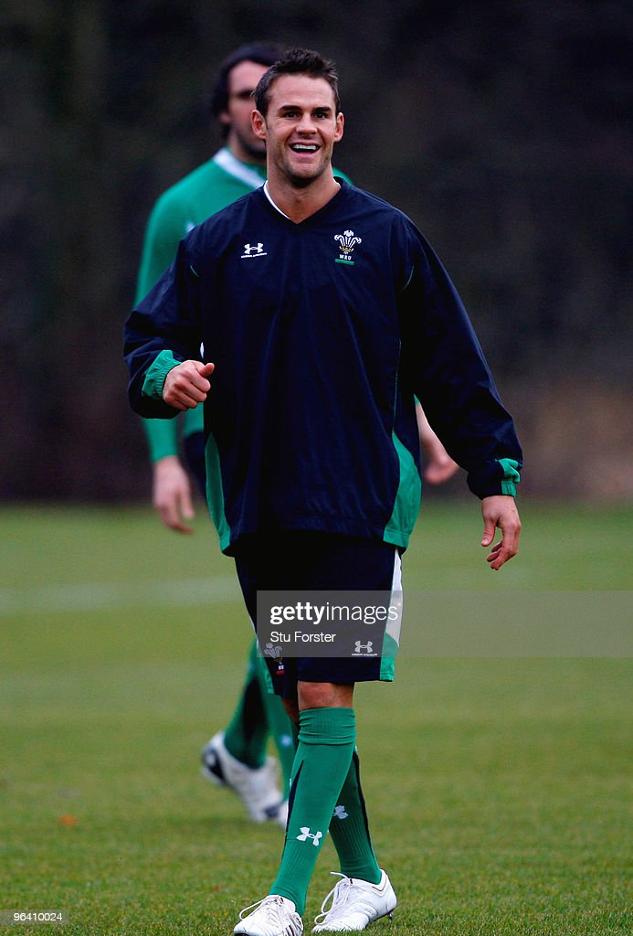Wales fullback <a gi-track='captionPersonalityLinkClicked' href=/galleries/search?phrase=Lee+Byrne&family=editorial&specificpeople=460147 ng-click='$event.stopPropagation()'>Lee Byrne</a> raises a smile during Wales Rugby Union training at The Vale of Glamorgan on February 4, 2010 in Cardiff, Wales.
