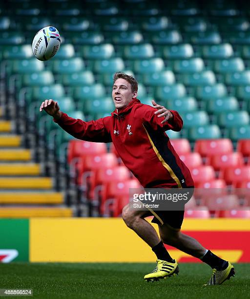Wales fullback Liam Williams in action during the Wales kickers practice at Millennium Stadium on September 18 2015 in Cardiff Wales