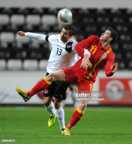 Wales Gareth Bale and Austria's Markus Suttner during the International Friendly at the Liberty Stadium Swansea