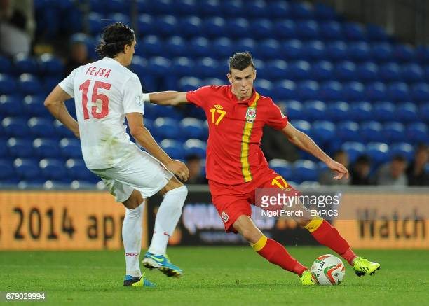 Wales' Gareth Bale and Serbia's Ljubomir Fejsa battle for the ball