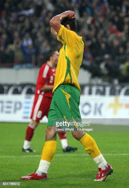 Wales' Gareth Bale reacts after missing a penalty during the World Cup Qualifying match at the Lokomotiv Stadium Moscow Russia