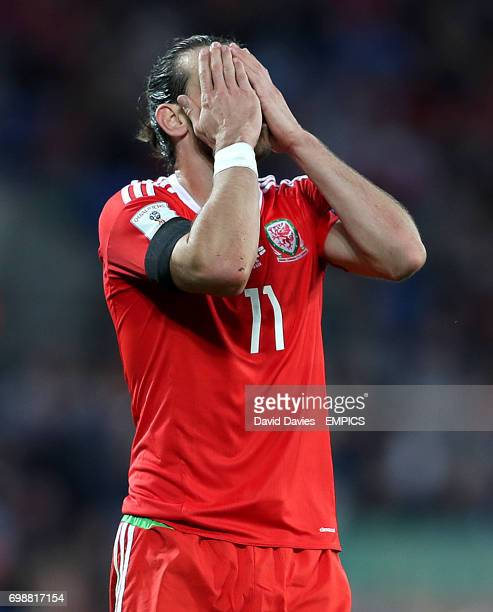 Wales' Gareth Bale rues a missed chance towards the end of the game