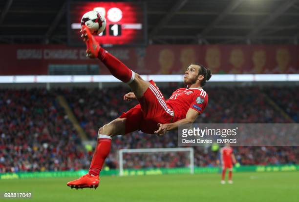 Wales' Gareth Bale with an overhead bicycle kick