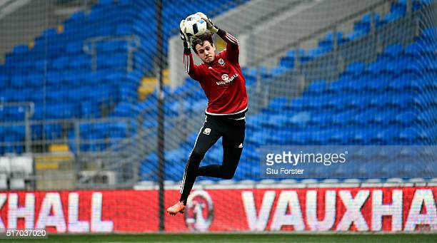 Wales goalkeeper Danny Ward in action during Wales training ahead of their match against Northern Ireland at Cardiff City Stadium on March 23 2016 in...