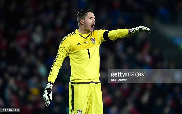 Wales goalkeeper Wayne Hennessey in action during the International friendly match between Wales and Northern Ireland at Cardiff City Stadium on...