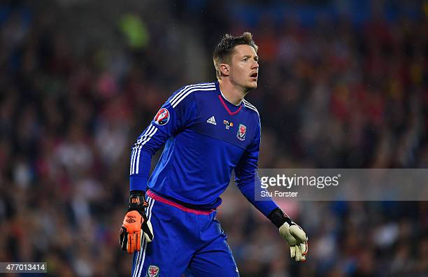 Wales goalkeeper Wayne Hennessey in action during the UEFA EURO Group B 2016 Qualifier between Wales and Belguim at Cardiff City stadium on June 12...