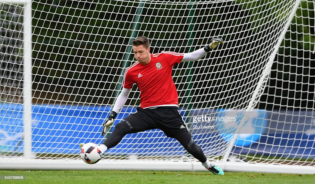 Wales goalkeeper <a gi-track='captionPersonalityLinkClicked' href=/galleries/search?phrase=Wayne+Hennessey&family=editorial&specificpeople=4304710 ng-click='$event.stopPropagation()'>Wayne Hennessey</a> in action during the Wales training session ahead of their Euro 2016 quarter final match against Belgium at their base camp on June 30, 2016 in Lille, France.