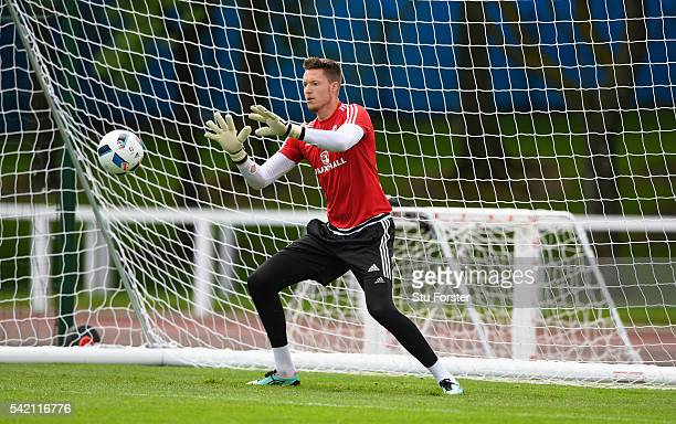 Wales goalkeeper Wayne Hennessey in action during Wales training at their Euro 2016 base camp on June 22 2016 in Dinard France