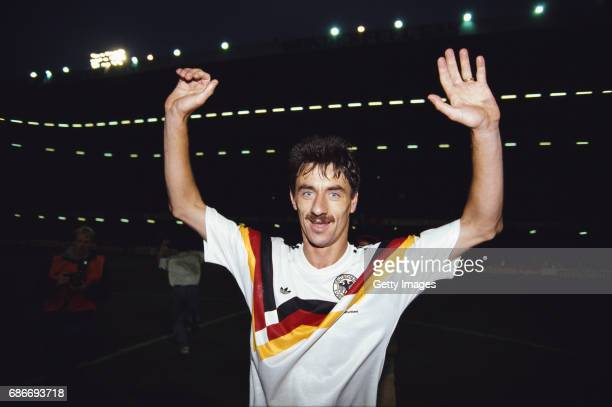 Wales goalscorer Ian Rush celebrates after Wales had beaten West Germany 10 in a 1992 UEFA Championships qualifier at Cardiff Arms Park on May 5 1991...