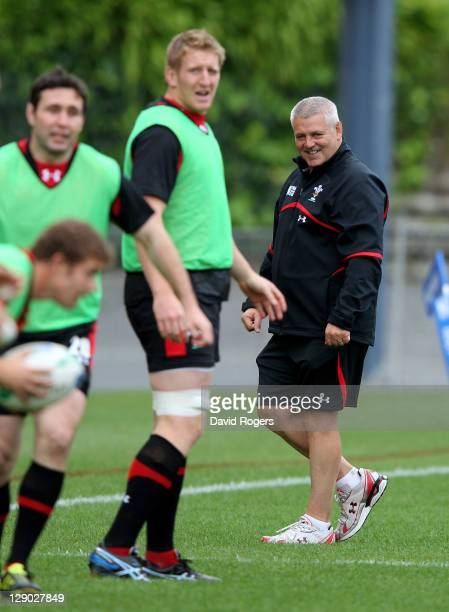 Wales head ciooach Warren Gatland watches over a Wales IRB Rugby World Cup 2011 training session at Mt Smart Stadium on October 11 2011 in Auckland...