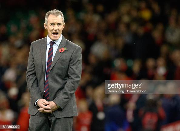 Wales' Head Coach Rob Howley during the pre match warm up during the Autumn International match between Wales and Argentina at Principality Stadium...