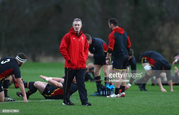 Wales head coach Rob Howley looks on during a Wales training session on February 2 2017 in Cardiff Wales