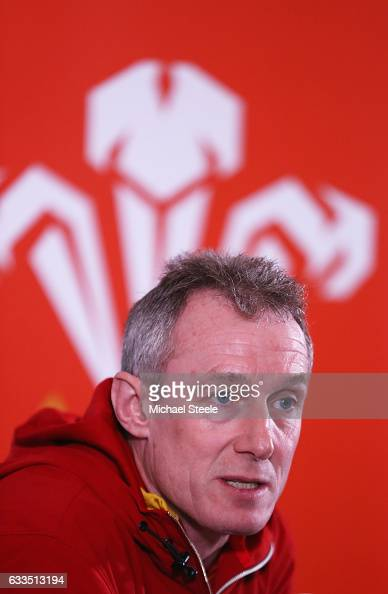 Wales head coach Rob Howley talks to the media during a press conference on February 2 2017 in Cardiff Wales