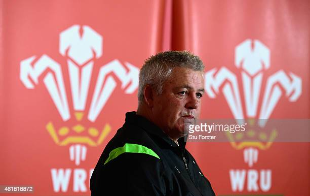 Wales head coach Warren Gatland faces the media at the Wales RBS Six Nations Squad Announcement at the Vale Hotel on January 20 2015 in Cardiff Wales