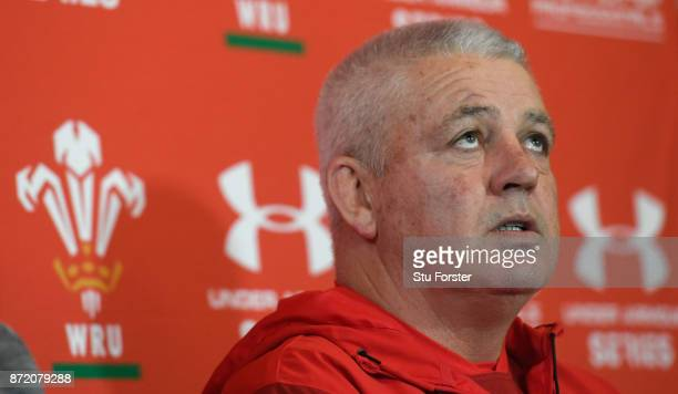 Wales Head coach Warren Gatland faces the media during Wales Media access ahead of their game against the Australian Wallabies at the Hensol Castle...