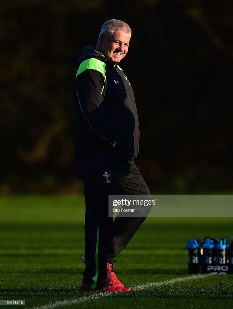 Wales head coach Warren Gatland raises a smile during a Wales training session at the Vale Hotel on November 18, 2014 in Cardiff, Wales.