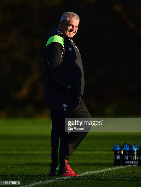 Wales head coach Warren Gatland raises a smile during a Wales training session at the Vale Hotel on November 18 2014 in Cardiff Wales