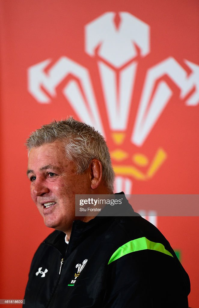 Wales head coach Warren Gatland raises a smile whilst facing the media at the Wales RBS Six Nations Squad Announcement at the Vale Hotel on January 20, 2015 in Cardiff, Wales.