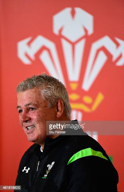 Wales head coach Warren Gatland raises a smile whilst facing the media at the Wales RBS Six Nations Squad Announcement at the Vale Hotel on January...