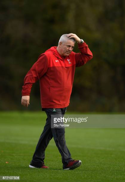 Wales Head coach Warren Gatland reacts during Wales Media access ahead of their game against the Australian Wallabies at the Hensol Castle on...