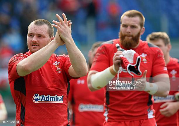 Wales hooker Ken Owens and Wales lock Jake Ball celebrate after winning the Six Nations international rugby union match between Italy and Wales on...