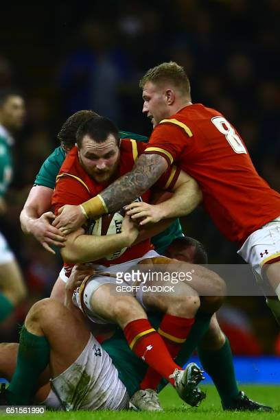 Wales' hooker Ken Owens is tackled during the Six Nations international rugby union match between Wales and Ireland at the Principality Stadium in...