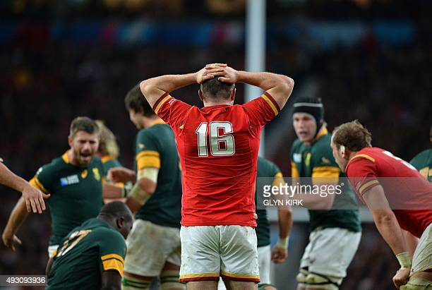 Wales' hooker Ken Owens reacts after losing the ball during a quarter final match of the 2015 Rugby World Cup between South Africa and Wales at...