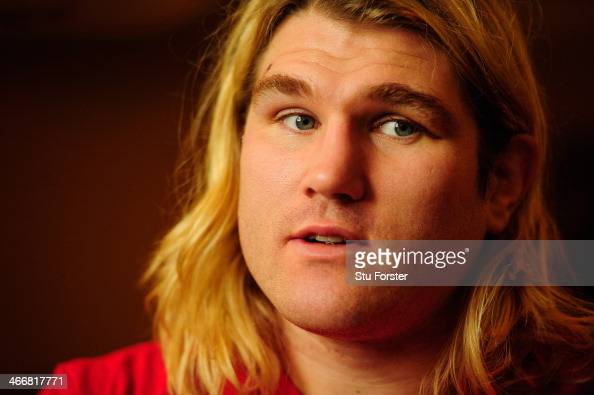 Wales hooker Richard Hibbard faces the press at the team announcement ahead of saturdays game against Ireland at the Vale of Glamorgan on February 4...