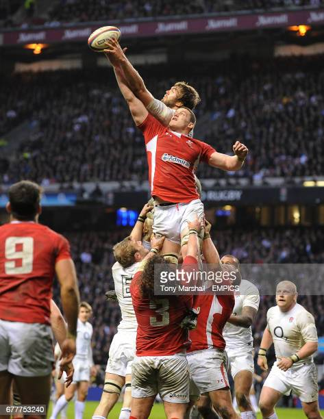 Wales' Ian Evans and England's Geoff Parling in action in the line out