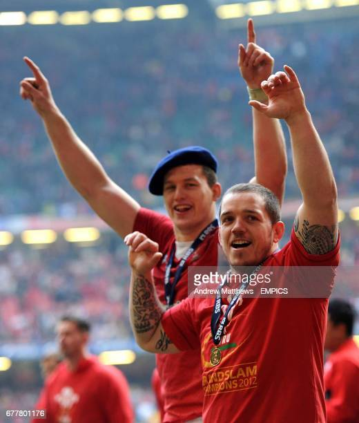 Wales' Ian Evans and Paul Jones celebrate after the finbal whistle