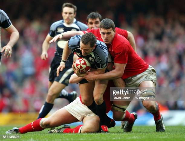 Wales' Ian Evans ties up Scotland's Dan Parks during the RBS 6 Nations match at the Millennium Stadium Cardiff